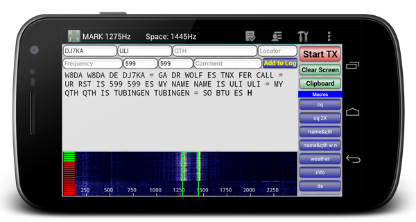 DroidRTTY - RTTY app from Android phones and tablets